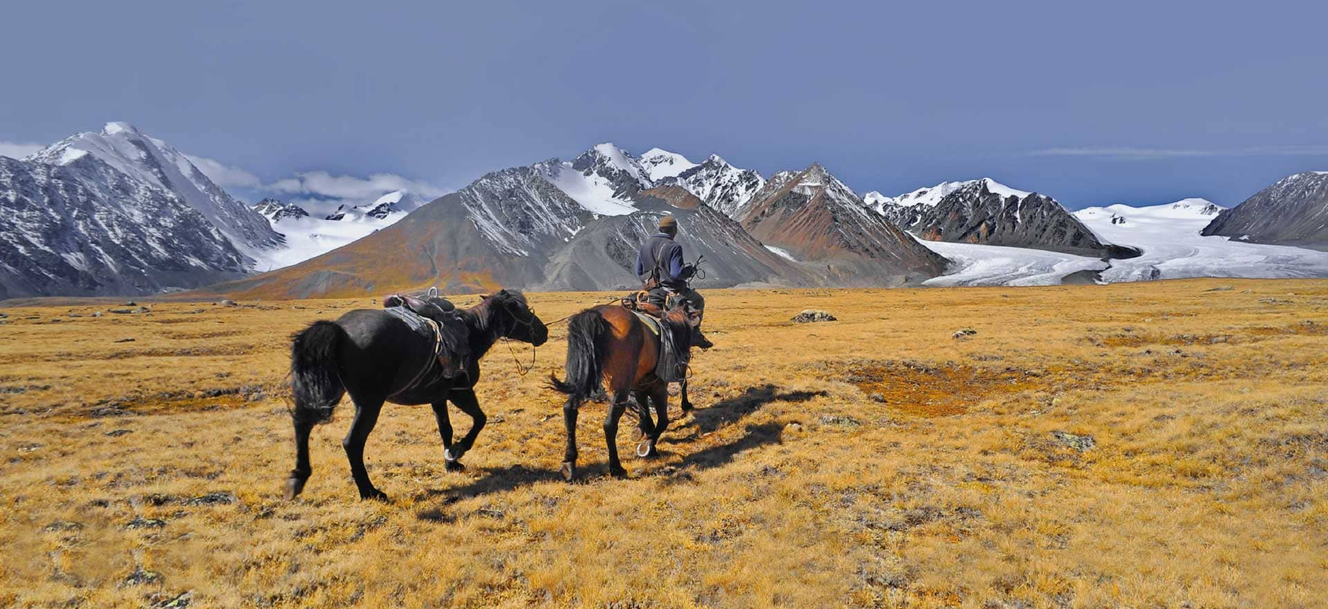Native Eye Home page - man on horse back in the Altai mountains
